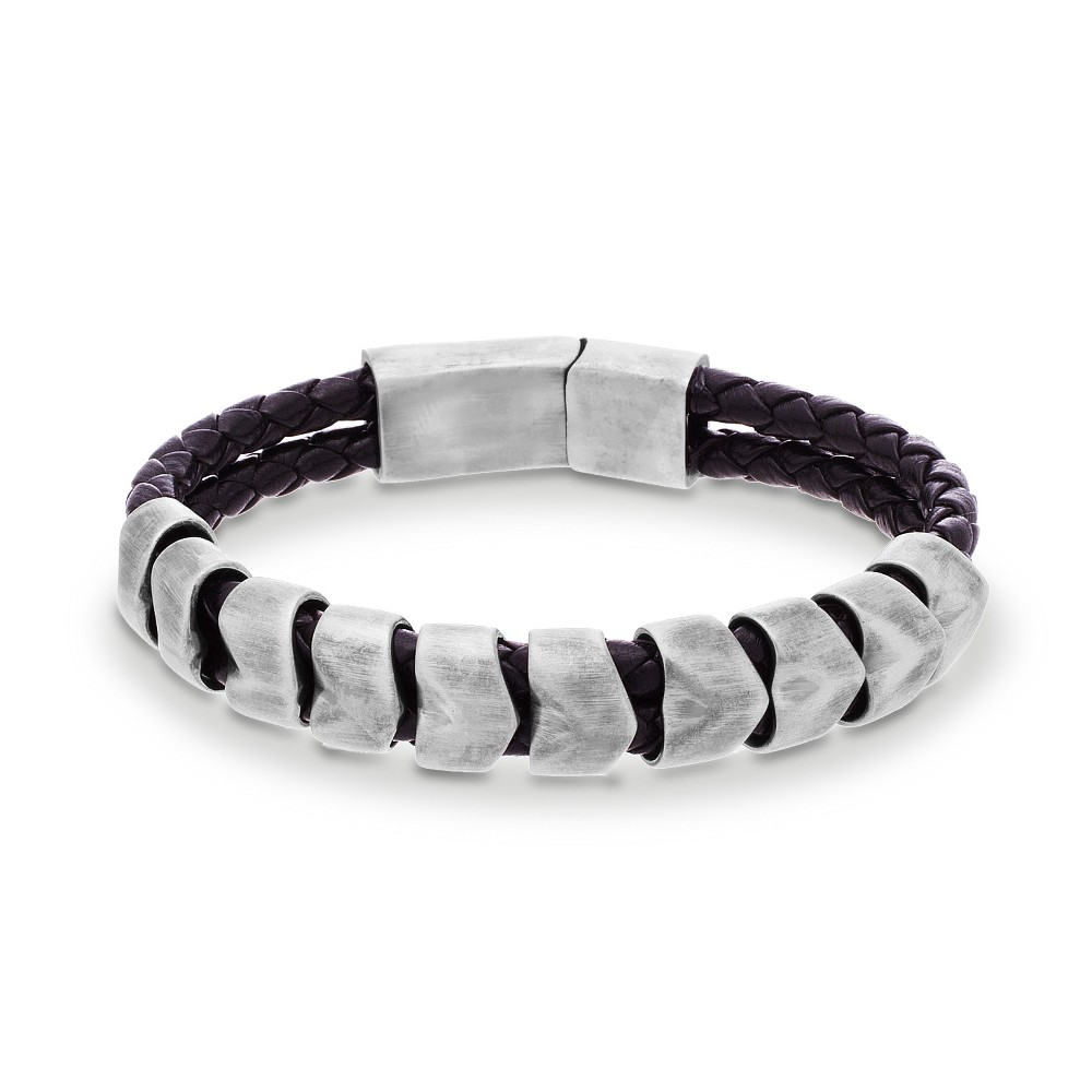 Silver-Tone Stainless Steel Men's Facet Beads Black Braided Leather Bracelet, Silver