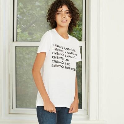 Women's Embrace Kindness Short Sleeve Graphic T-Shirt - White