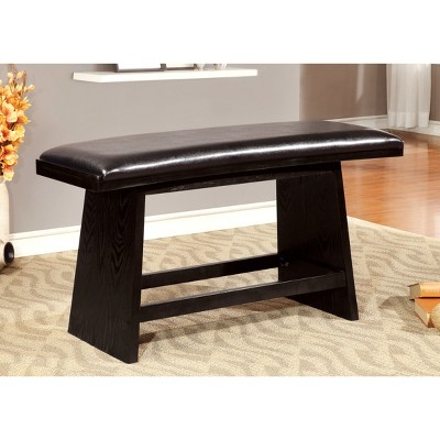 ioHomes Flared Legs Padded Leatherette Counter Dining Bench Wood/Black