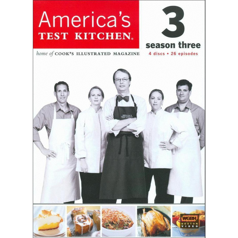 America's Test Kitchen Season 3 (Dvd) From the test kitchens of Cook's Illustrated magazine comes this straightforward cooking show for smart home chefs. Each episode offers sensible reviews of kitchen equipment and clear, insightful lessons on how to prepare everything from soups to steak. This season-three collection features 26 complete episodes, including  Party Foods,   Steakhouse Dinner,   Texas Chili,   Thanksgiving from the Grill,  and  Rustic Bread at Home.