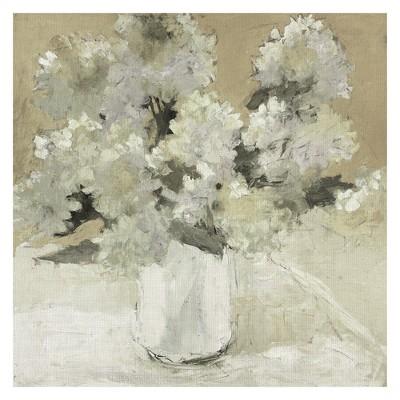 35 x35  White Hydrangea Bouquet On White By Dale Payson Art On Canvas - Fine Art Canvas