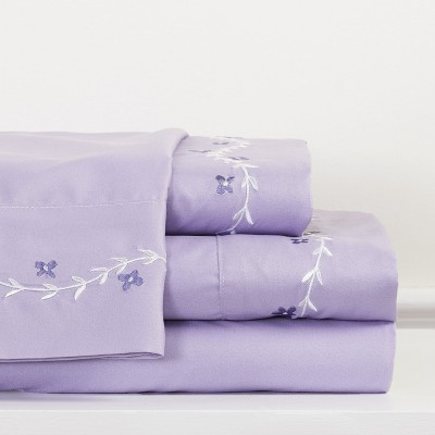 Lakeside Purple Sentiment Bedding Sheet Set with Pillowcases - 4 Pieces