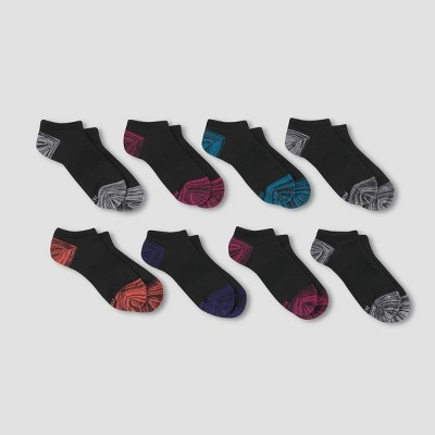 Hanes Performance Women's Extended Size Lightweight 6+2 Bonus Pack No Show Athletic Socks - Black/Gray 8-12