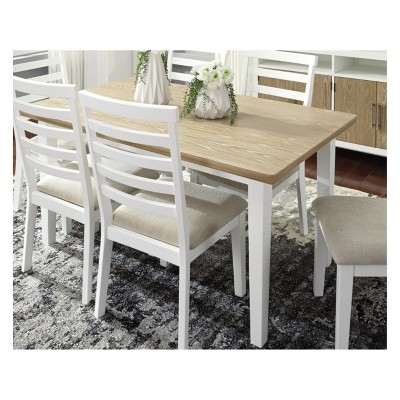 Gardomi Rectangular Dining Room Table White/Light Brown   Signature Design  By Ashley