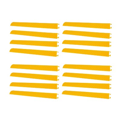 Pyle 40 Inch Cable Wire Protector Cover Ramp Track w/ Interlocking System for Indoor Outdoor Floor Extension Cord Safety Concealment, Yellow (16 Pack)