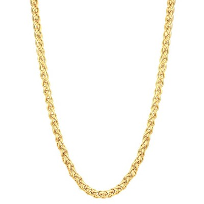 Men's Gold Plated Stainless Steel Spiga Chain Necklace (6mm)- Gold (24 )