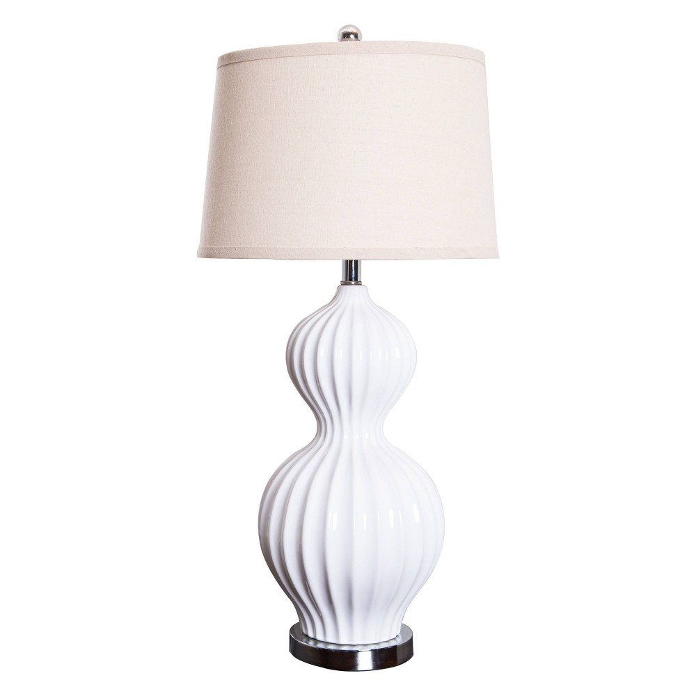 Image of Abbyson Living Mia Fluted Table Lamp - White
