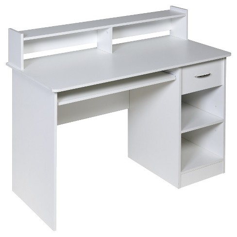 Onee 50 Ld0101 Essential Computer Desk Hutch Pull Out Keyboard White Target