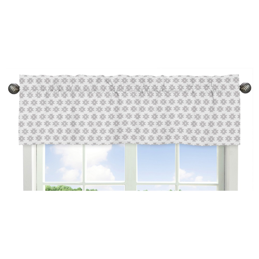 Sweet Jojo Designs Window Valance - Feather/Tribal Geometric - Gray