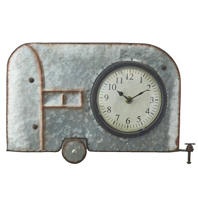 Lakeside Galvanized Metal Retro Metal Wall Hanging Novelty Clock - Camper