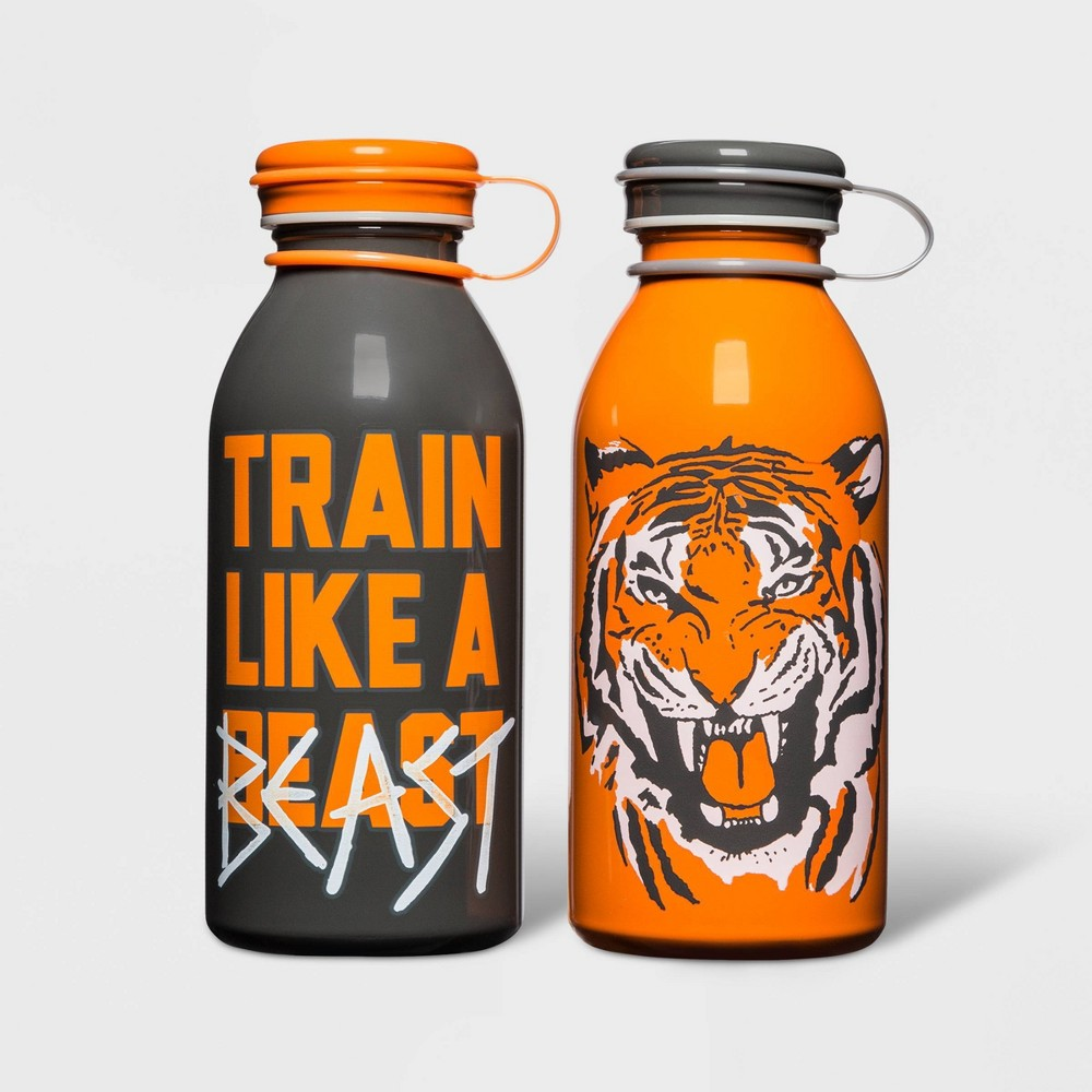 Image of 12oz 2pk Stainless Steel Lion Water Bottles Orange - Cat & Jack