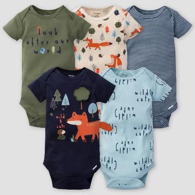 Gerber Baby Boys' 5pk Fox Short Sleeve Onesies - Green/Off-White/Blue 3-6M
