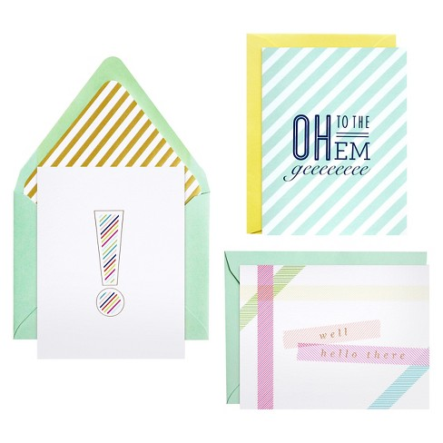 meant to be sent® Striped Notecards 3 ct - image 1 of 2