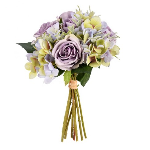 """Vickerman 12"""" Artificial Violet Hydrangea and Rose Bouquet - image 1 of 2"""