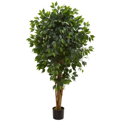 "66"" Artificial Ficus Tree in Pot Black - Nearly Natural"