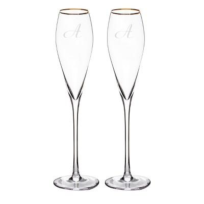 2ct Monogram Gold Rim Champagne Flutes - A