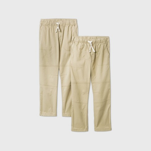Boys' 2pk Stretch Straight Fit Pull-On Woven Pants - Cat & Jack™ Khaki - image 1 of 2