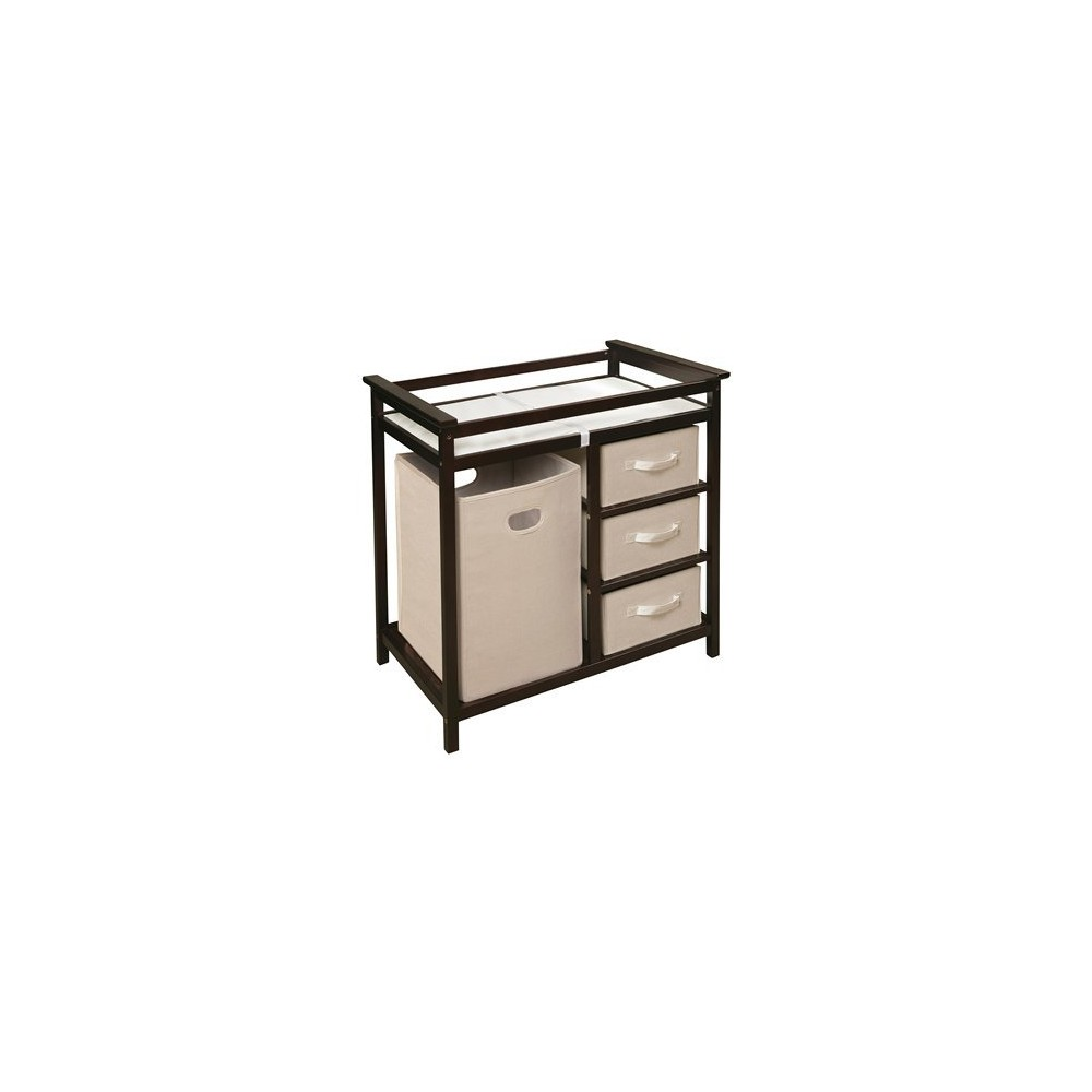 Badger Basket Modern Changing Table with Hamper - Espresso (Brown)