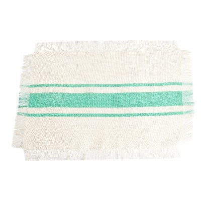 Striped Design Jute Placemats Sea Green (Set of 4)