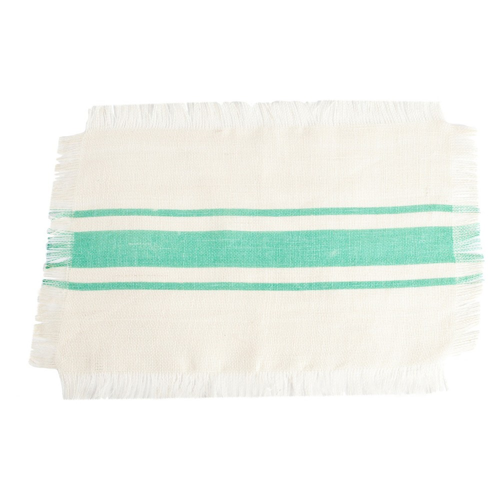 Striped Design Jute Placemats Sea Green Set Of 4