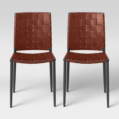 2pk Wellfleet Woven Leather Metal Base Dining Chair - Project 62™