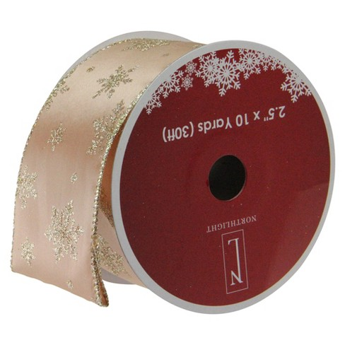 """Northlight Sparkling Gold Stars Wired Christmas Craft Ribbon 2.5"""" x 10 Yards - image 1 of 3"""