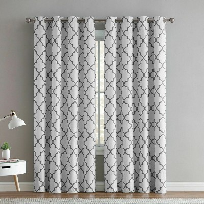 Regal Home 2 Pack: Hunter Blackout Gray & White Trellis Window Curtains