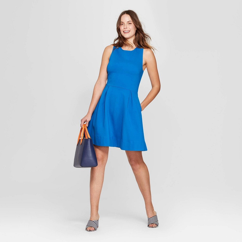 Women's Relaxed Fit Sleeveless Crewneck Fit and Flare Ponte Dress - A New Day Blue XL