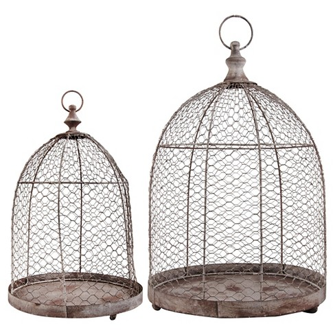 12x12x18 And 15x15x21  Set of 2 Aged Metal Cloches With a Lockable Door - Brown - Esschert Design - image 1 of 1