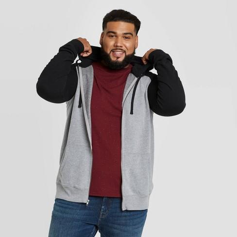 Men's Big & Tall Regular Fit Full Zip Fleece Hoodie Sweatshirt - Goodfellow & Co™ Black - image 1 of 3