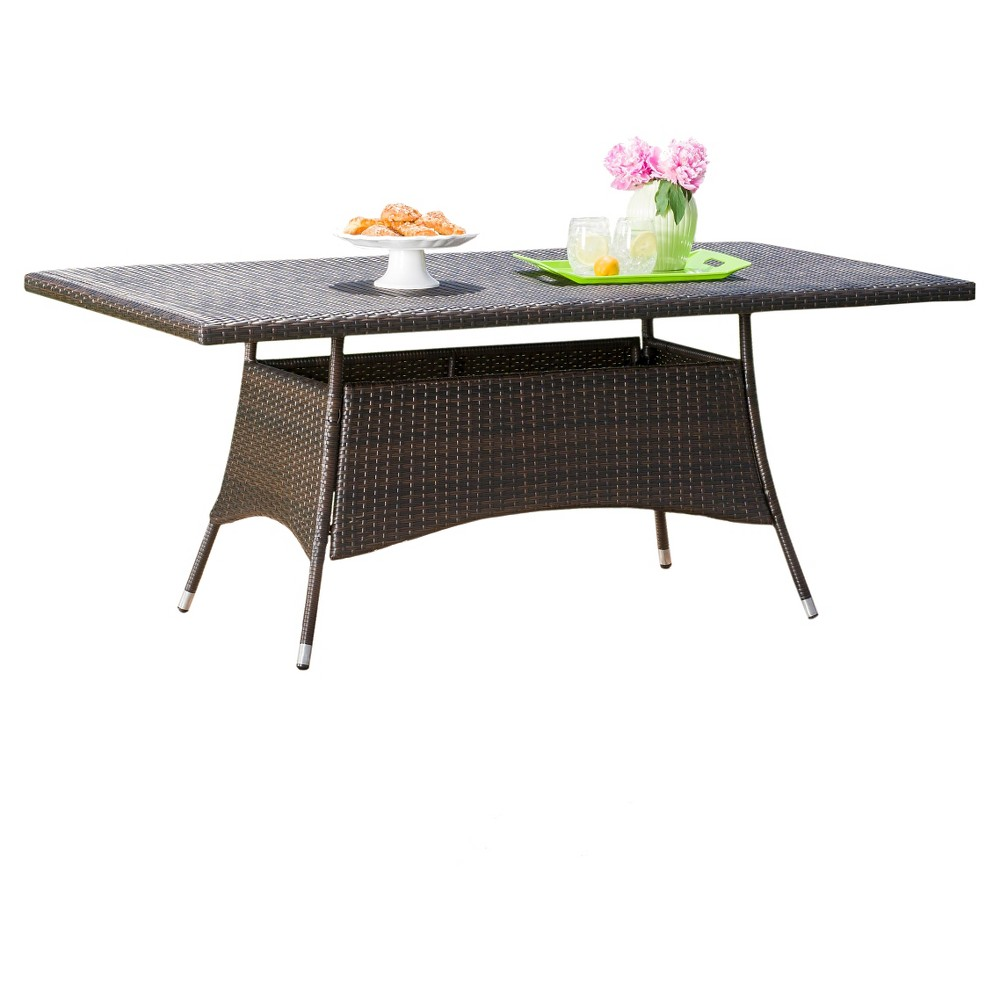 Corsica Rectangle Wicker Dining Table - Multi Brown - Christopher Knight Home