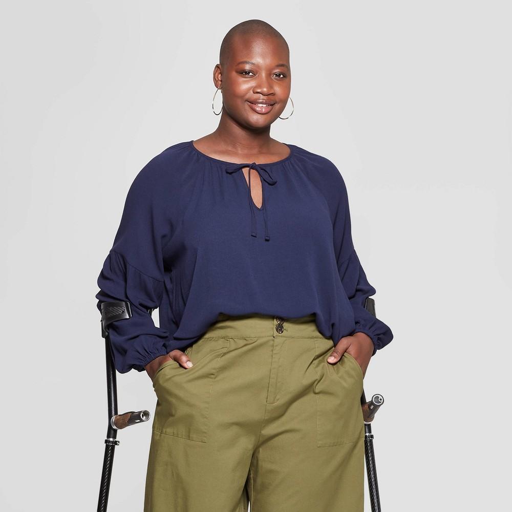 Women's Plus Size Long Sleeve V-Neck Poet Blouse - Ava & Viv Navy (Blue) 3X