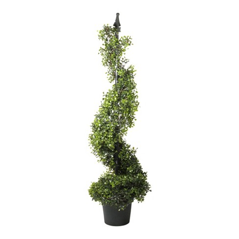 Northlight 3.75' Potted Two-Tone Boxwood Spiral Artificial Topiary Christmas Tree - Unlit - image 1 of 2