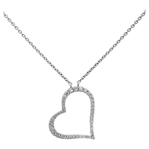 "Women's Heart Necklace with Clear Cubic Zirconia in Sterling Silver - Clear/Gray (18"") - image 1 of 1"