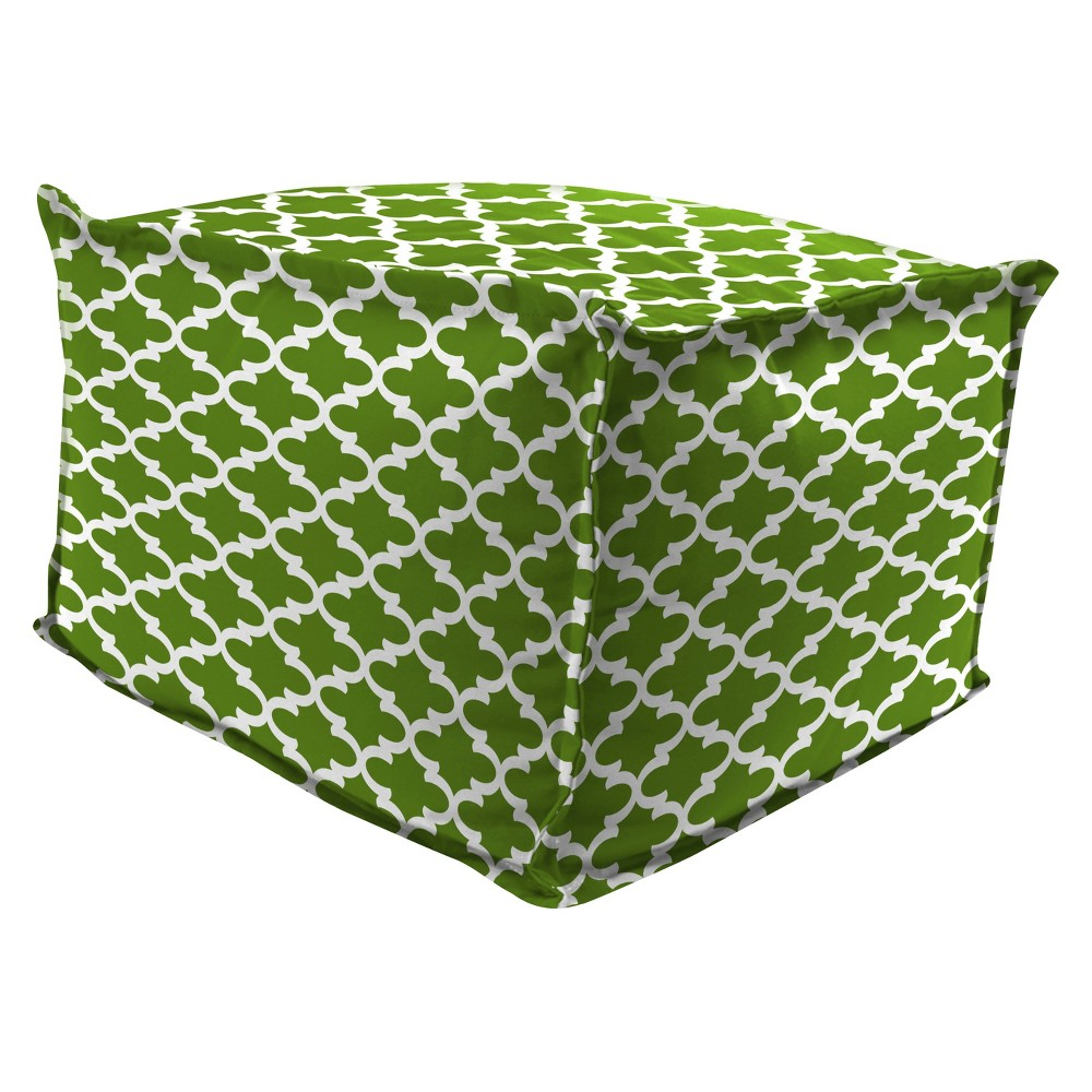 Outdoor Bean Filled Pouf/Ottoman In Fulton Bay Green - Jordan Manufacturing