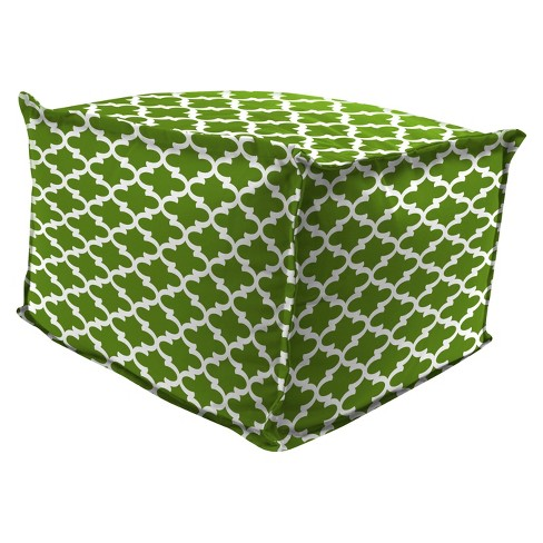 Outdoor Bean Filled Pouf/Ottoman In Fulton Bay Green - Jordan Manufacturing - image 1 of 2