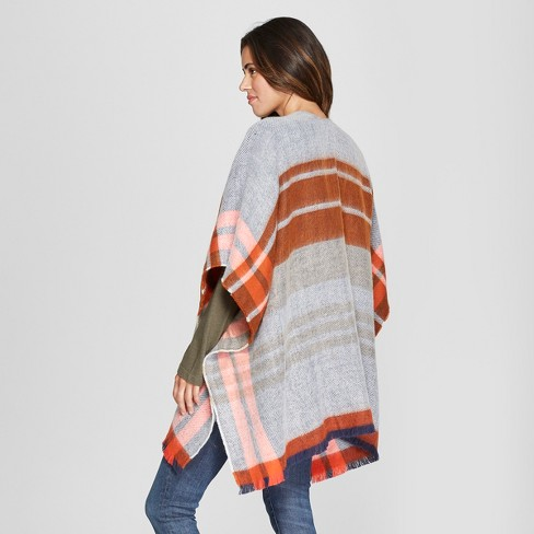 6996b5734 Women's Woven Plaid Poncho Sweater - Universal Thread™ Rust One Size :  Target