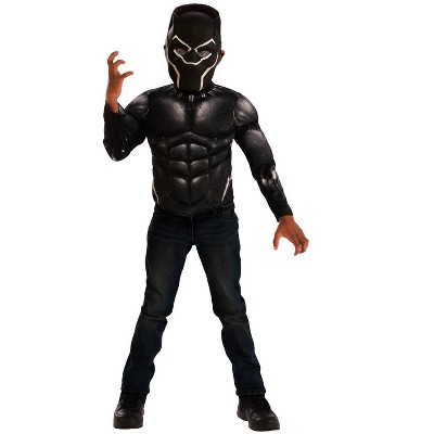 Imagine Black Panther Muscle Chest Shirt Set Kids Costume