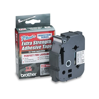 Brother P-Touch TZ Extra-Strength Adhesive Laminated Labeling Tape 1w Black on Matte Silver TZES951