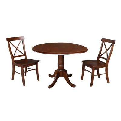 """42"""" Tess Round Top Pedestal Extendable Dining Table with 2 Chairs Espresso Brown - International Concepts"""