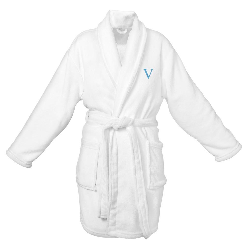 Monogram Bridesmaid Plush Robe - V, White