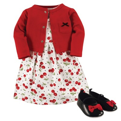 Hudson Baby Infant Girl Cotton Dress, Cardigan and Shoe 3pc Set, Cherries