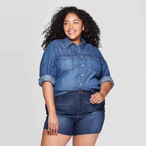 Women\'s Plus Size Long Sleeve Collared Western Denim Shirt - Universal  Thread™ Dark Wash 1X