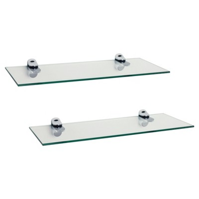 Glass Floating Shelves with Chrome Brackets Clear/Silver 16 x6  6pc - Danya B.