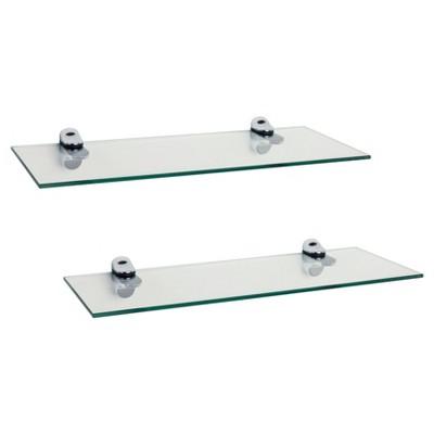 16 x 6 2pc floating glass shelves with chrome brackets clear rh target com diy floating glass shelf brackets
