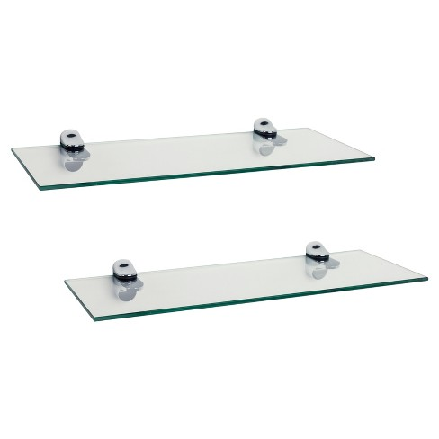 Fantastic 16 X 6 2Pc Floating Glass Shelves With Chrome Brackets Clear Silver Danya B Download Free Architecture Designs Embacsunscenecom