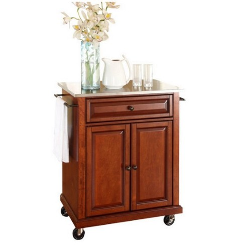 Wood Stainless Steel Top Kitchen Cart in Classic Cherry Brown - Pemberly Row