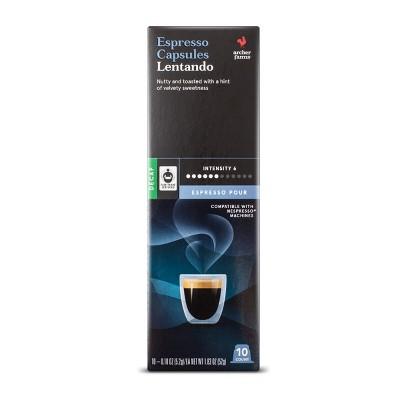 Espresso Pour Lentando Espresso Dark Roast - Single Serve Espresso Capsules - Decaf - 10ct - Archer Farms™
