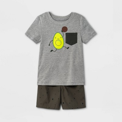 Toddler Boys' 2pc Avocado Dunking Short Sleeve Graphic T-Shirt and Woven Shorts Set - Cat & Jack™ Gray