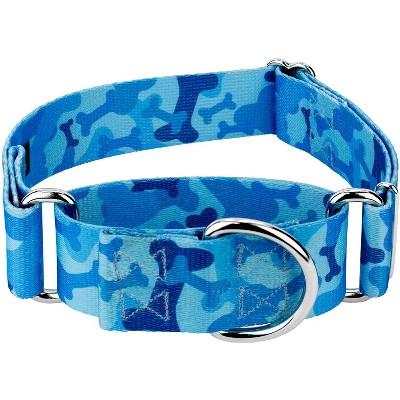 Country Brook Petz® 1 1/2 Inch Blue Bone Camo Martingale Dog Collar